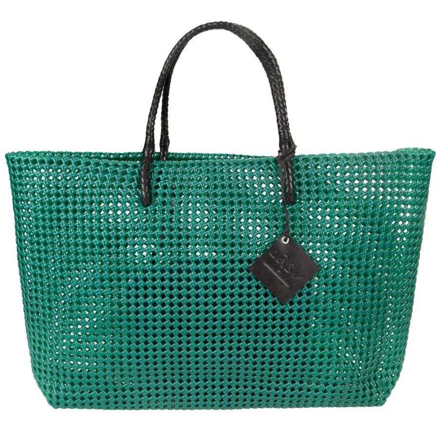 Sunlight Comoda borsa mare intrecciata a mano in plastica e pelle ... 3956ba3aadb