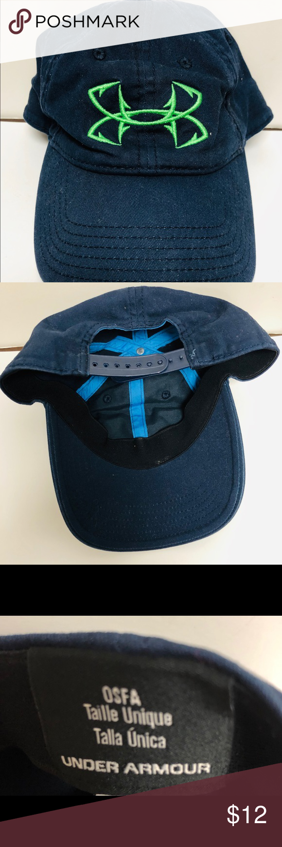 new style 2acec 79e9b Womens Under Armour hat Navy blue hat with lime green logo. One Size Fits  All