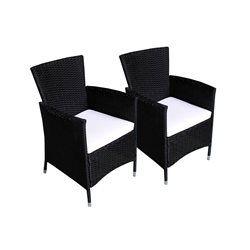 119 EUR Lot de 2 fauteuils de jardin en résine tressée WOOD ...