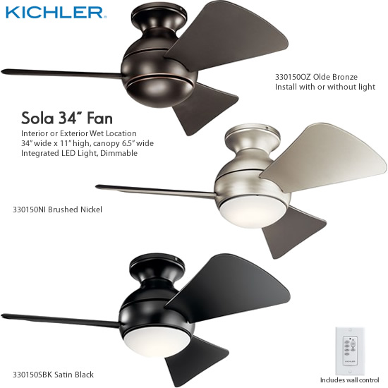 Kichler Sola Led 34 Wet Location Ceiling Fans Small Ceiling