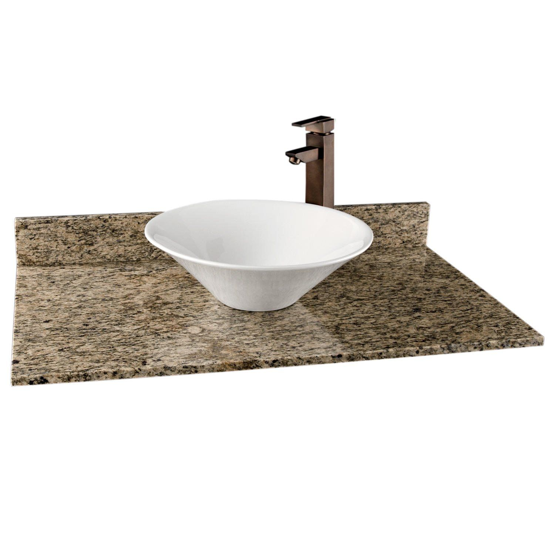 37 X 22 Granite Top For Vessel Sink No Faucet Holes Dark