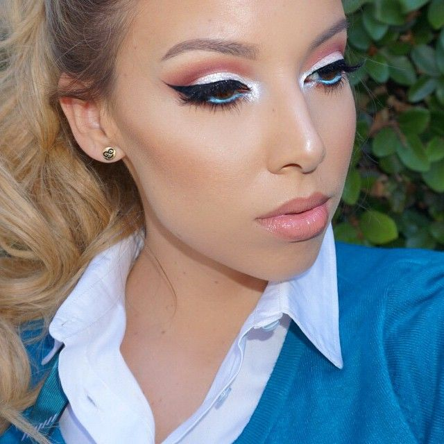 Almost forgot my waterline!!! I used @lagirlcosmetics Aquatic (bright blue) and then added Whiten on top to make it a bit more of a bright sky blue color. In my tear duct I had the Colour Pop tassel shadow with Mac teal reflects on top  Earrings are actually Emoji earrings from Icing (Claire's?) by lustrelux