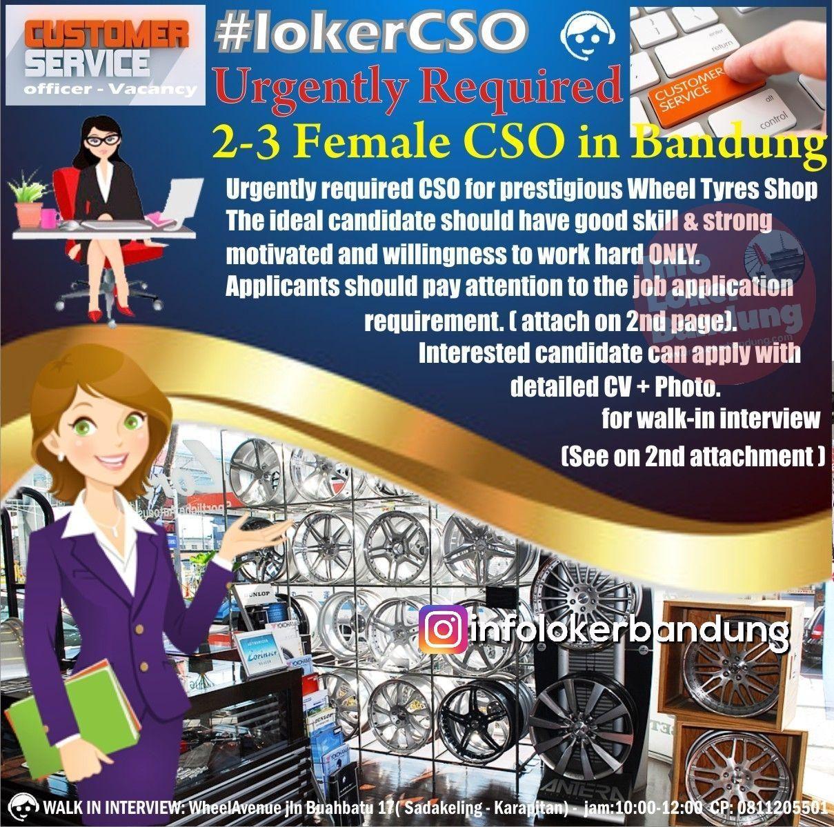 Lowongan Kerja Customer Service Wheel Avenue Bandung