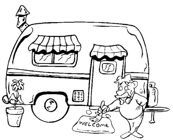 Kleuterdigitaal Kp Caravan Camping Coloring Pages Summer
