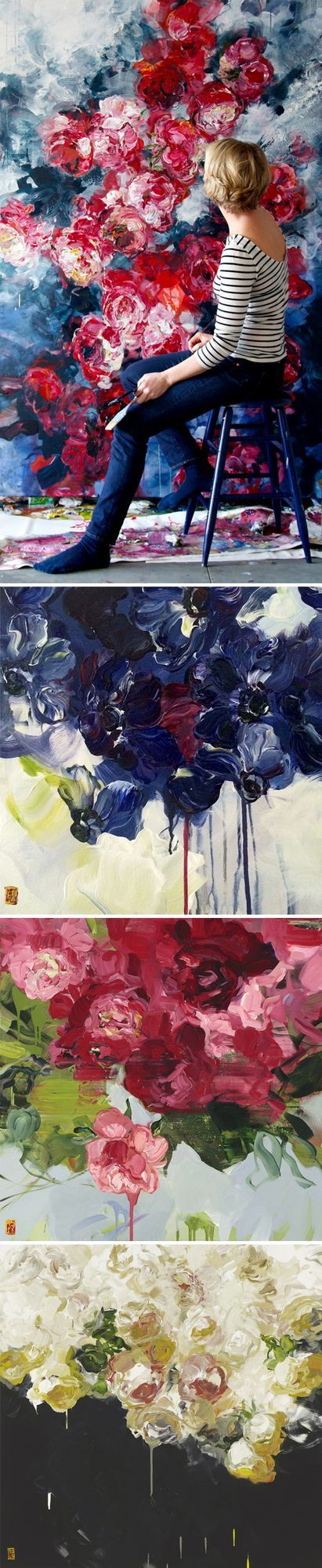 Seven foot flowers? Um, yes please! I am completely in love with these big, beautiful, blooms {acrylic on canvas} by Canadian artist Bobbie Burgers. Nothin' like some confident brush strokes, a few st