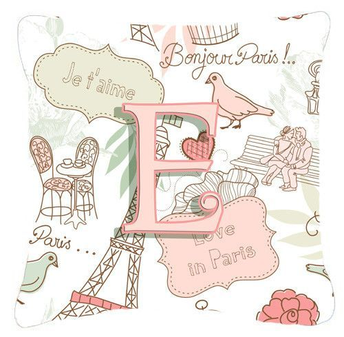 Letter E Love in Paris Pink Canvas Fabric Decorative Pillow CJ2002-EPW1414