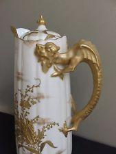 Antique Late 19thC Willets Belleek Gilt Dragon Handle Porcelain Chocolate Pot
