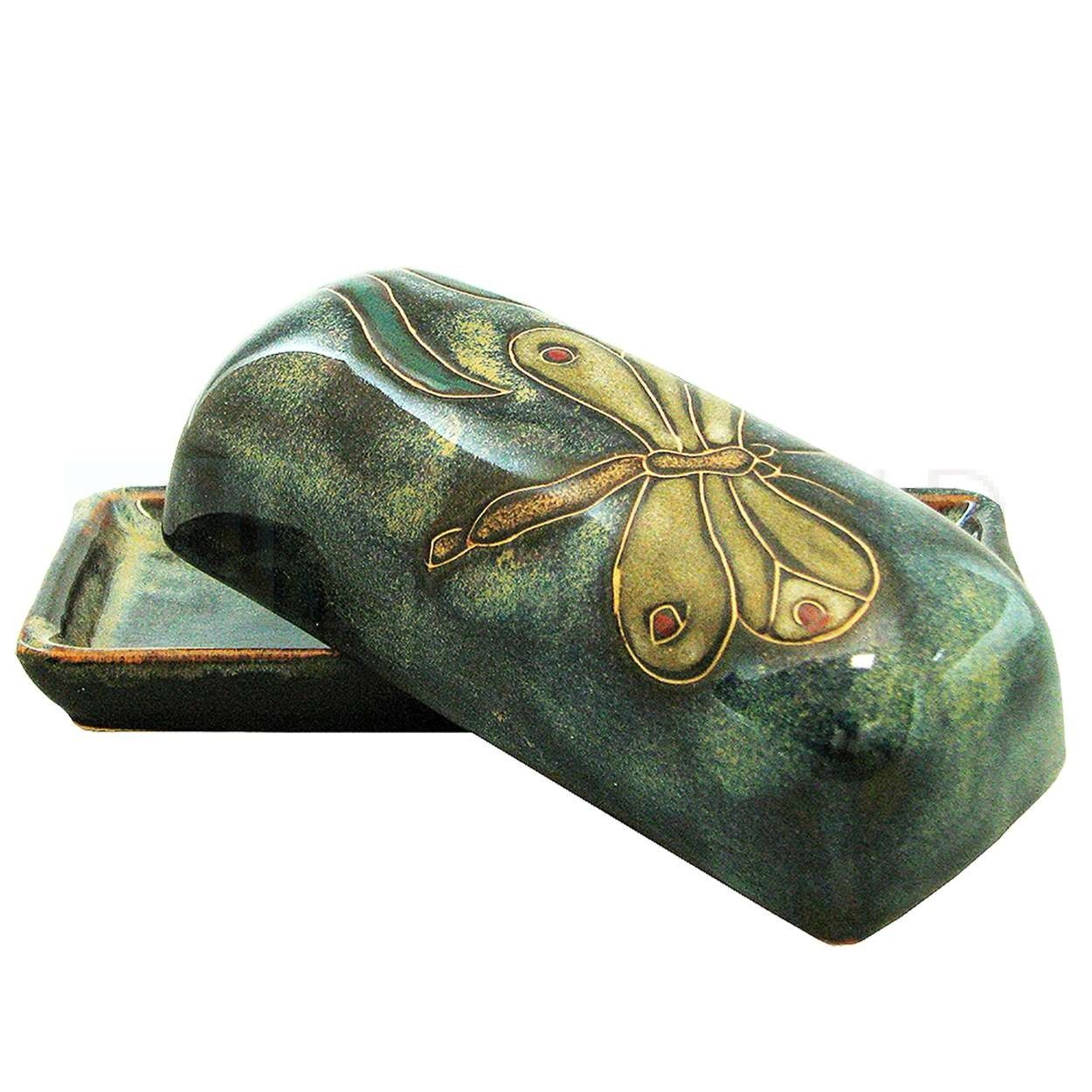 Mara Ceramic Stoneware Dragonfly Butter Dish with Lid- 565DF