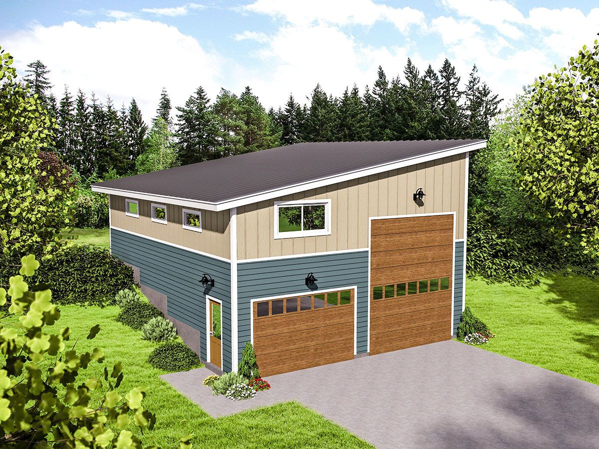 Plan 68491vr rv garage for an up sloping lot rv garage for Rv with garage