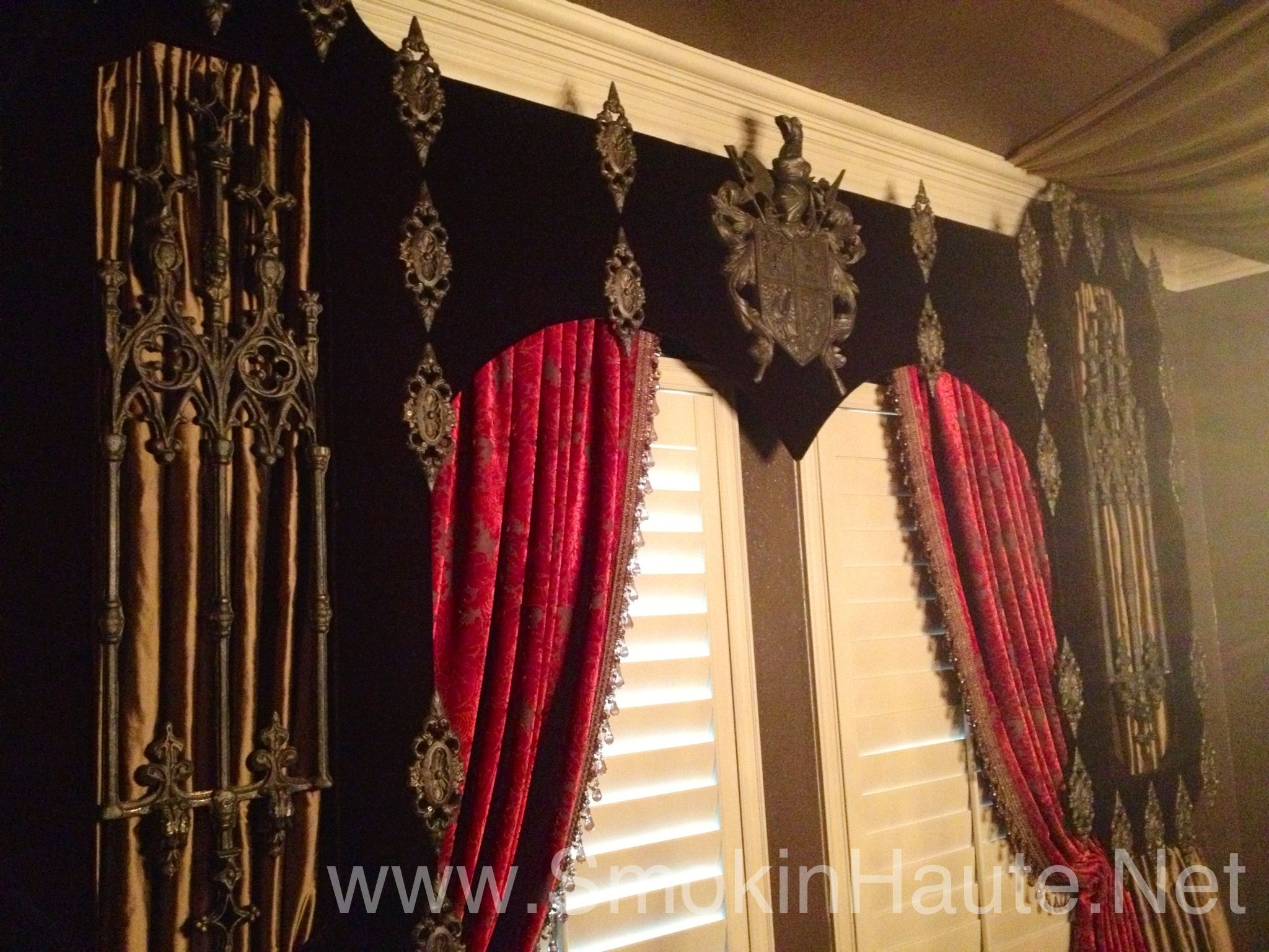 Gothic old world renaissance cornice board great detail for Old world window treatments
