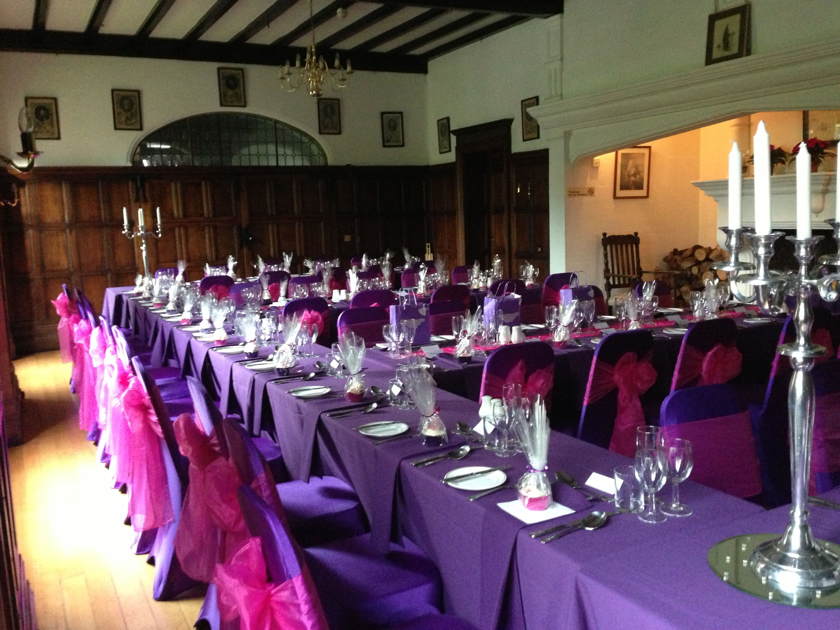 purple chair sashes for weddings leather parsons covers with hot pink wedding ideas