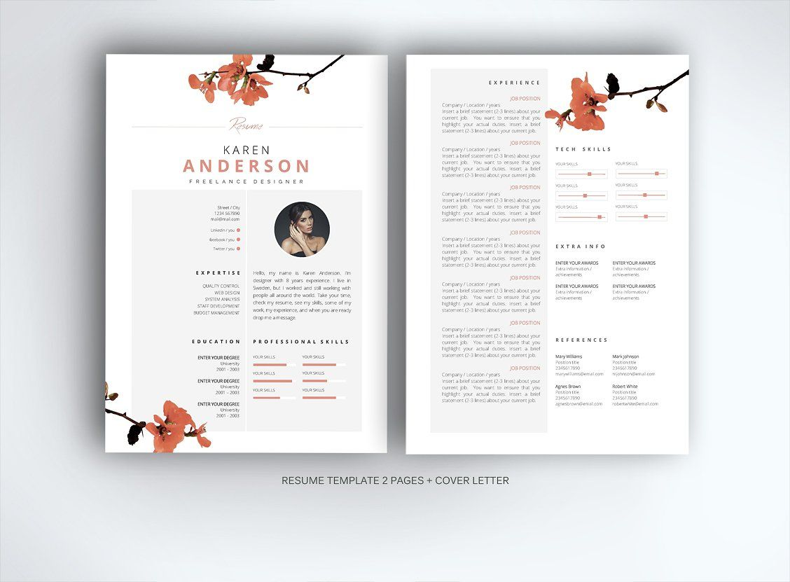 Resume Template For Ms Word By Fortunelle Resumes On Creativemarket