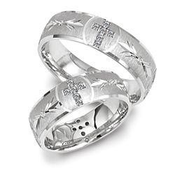 Main View Of 14kt White Gold Wedding Band With Cross Design Set In Diamonds