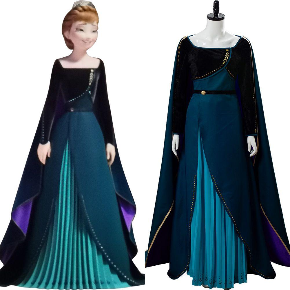 Snow Queen 2 Anna Dark Green Dress Cosplay Costume Cape