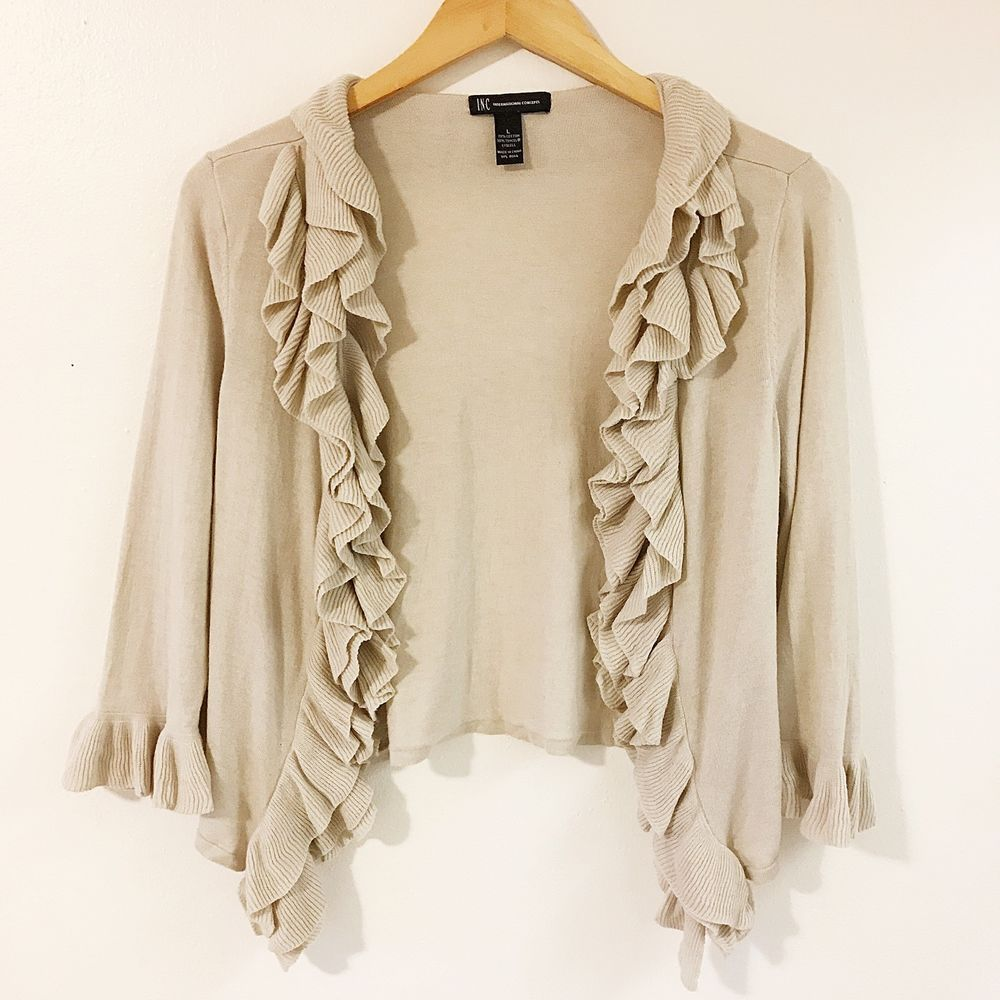 Details about I.N.C size L ruffle cardigan sweater cream taupe ...