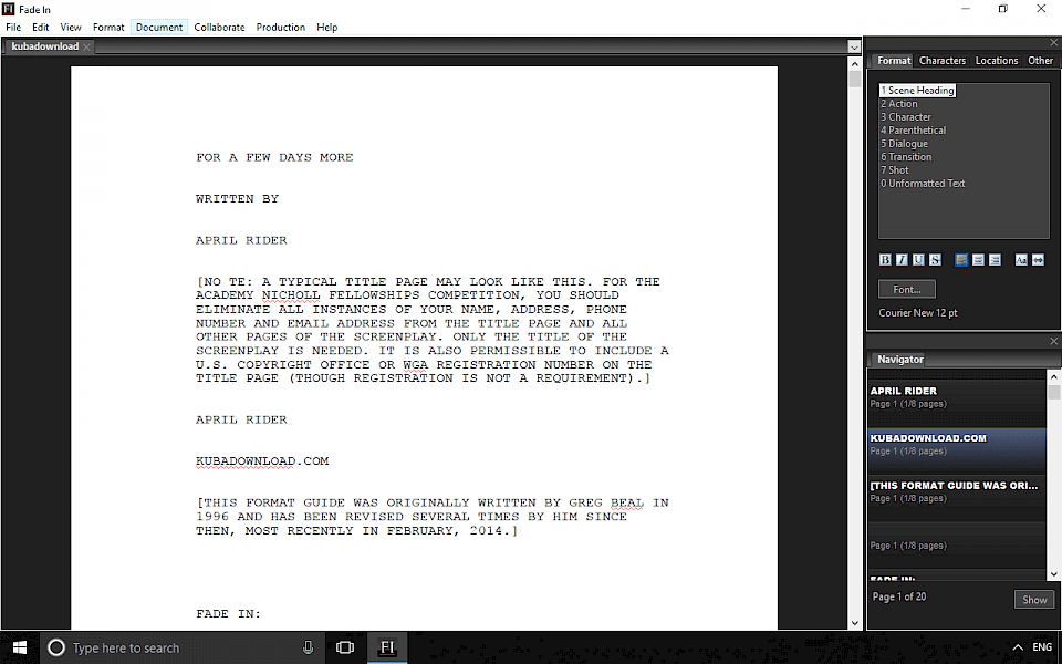 Free Fade In download, the screenwriting software for desktop