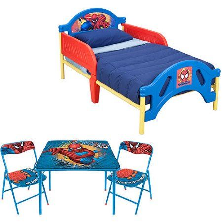 Phenomenal Marvel Spider Man Toddler Bed W Table Chairs Set Value Andrewgaddart Wooden Chair Designs For Living Room Andrewgaddartcom