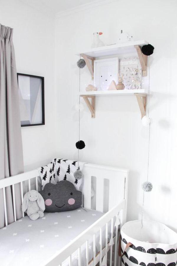déco chambre bébé enfant noir et blanc, scandinave épuré graphique