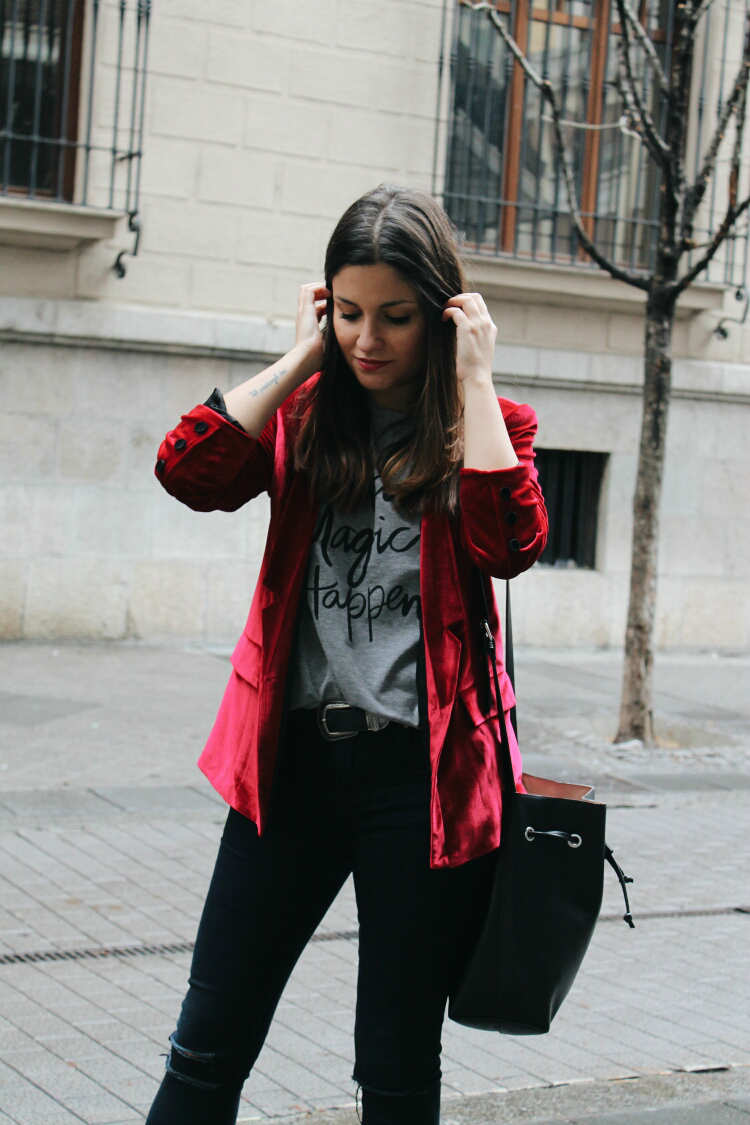 look Blazer Velvet Red Outfit outfit Jeans streetstyle Heels xR4OwqOS