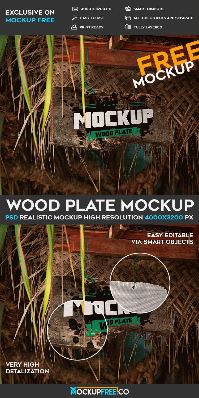 Free Wood Plate PSD Mockup | Free PSD Templates | #free #photoshop #mockup #psd #wood #plate