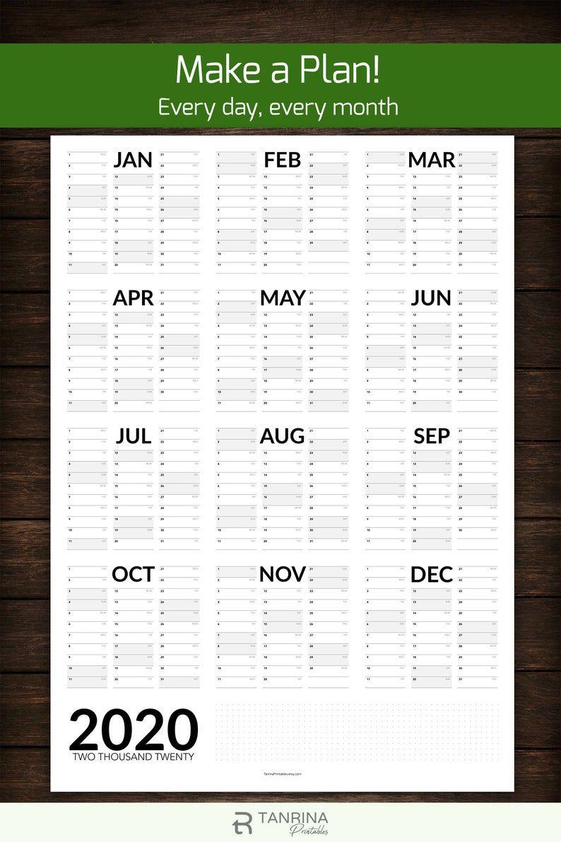 2021 Wall Planner Printable A2 A1 Portrait Wall Calendar Etsy In 2020 Wall Planner Printable Planner Printable Calendar