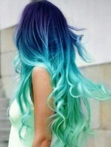 Mermaid hair! Blue green ombre dye maybe start with blonde the the rest of the colors
