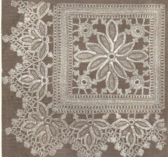 Beautiful And Intricate Square And Border Vintage Crochet Pattern