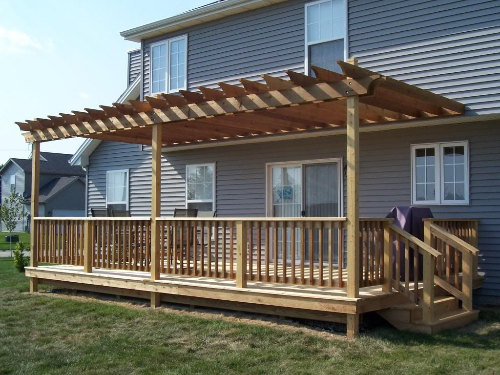 Build pergola raised deck deck patio pinterest for Ideas for deck designs