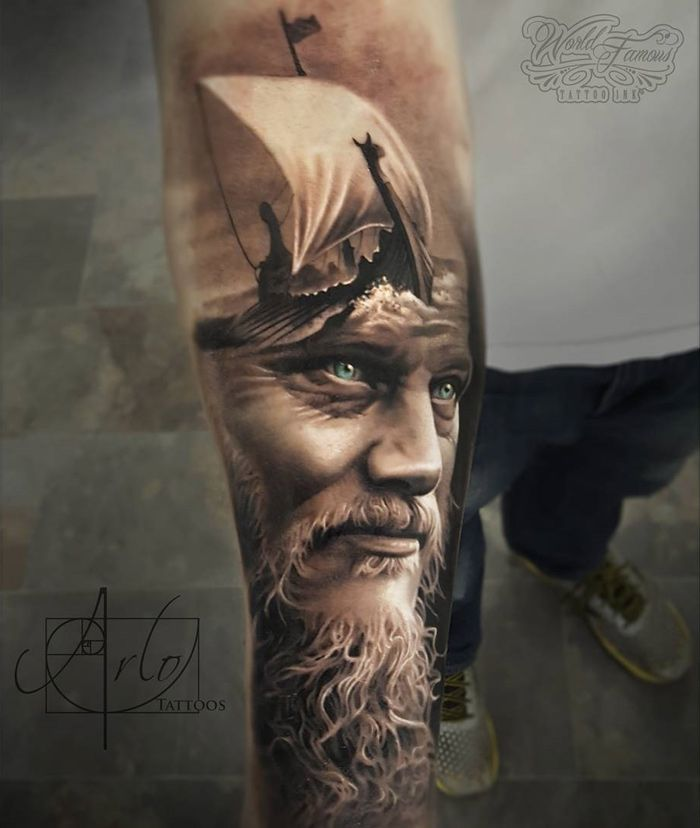 King Ragnar Tattoos Tattoos Viking Tattoos Realism Tattoo