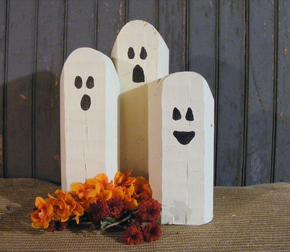 Reclaimed Wood Ghosts Rustic Halloween Decor by GFTWoodcraft - halloween ghost decor