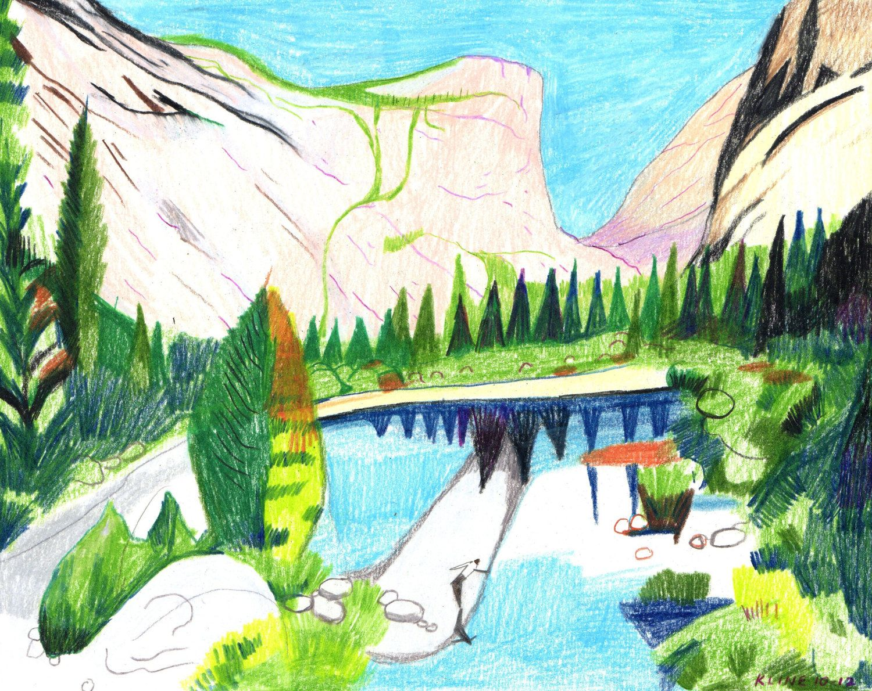 Colored Pencil Drawing. Yosemite National Park - Mirror Lake and Mt ...