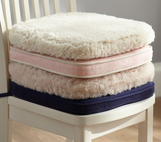 Desk Chair Cushion Fur Ivory Comfy Cozy Dinette Family
