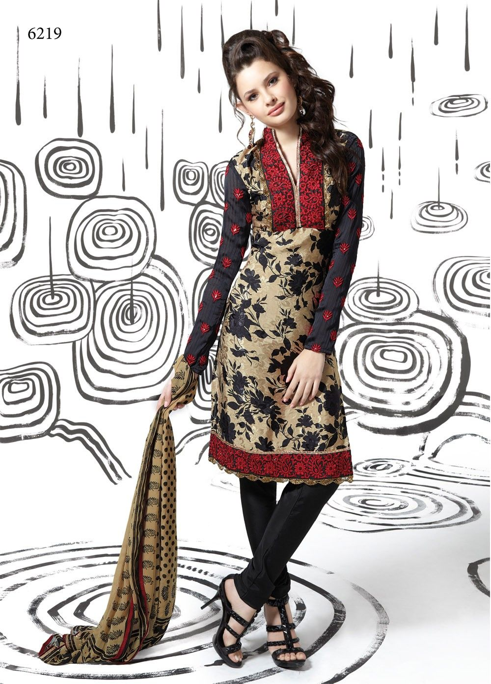 Pashmina embroidered suit with printed duppatta and bottom