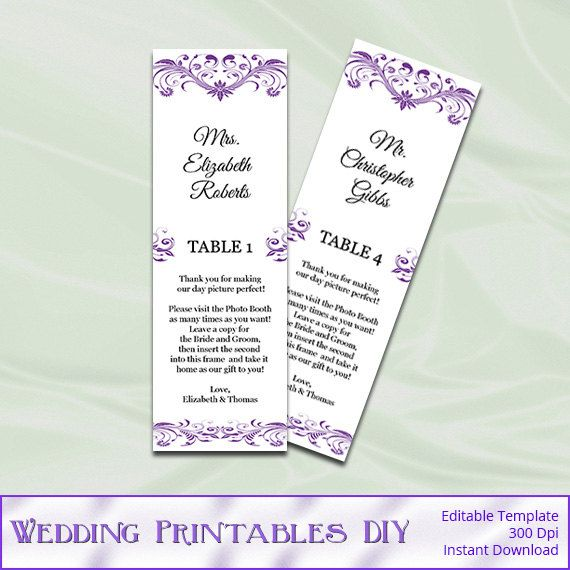 Purple Photo Booth Wedding Place Cards By Weddingprintablesdiy 8 00 Place Card Template Wedding Place Card Templates Wedding Templates