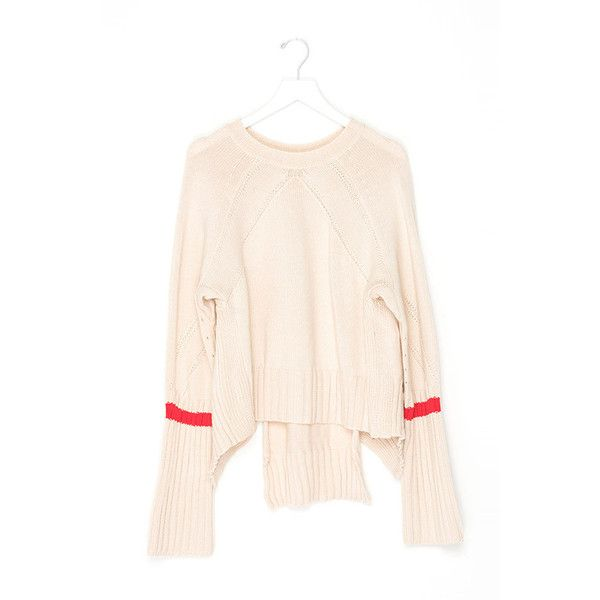 Crop High Low Sweater ($119) ❤ liked on Polyvore featuring tops, sweaters, cream, pink top, cream top, cropped sweater, pink crop top and pink sweater