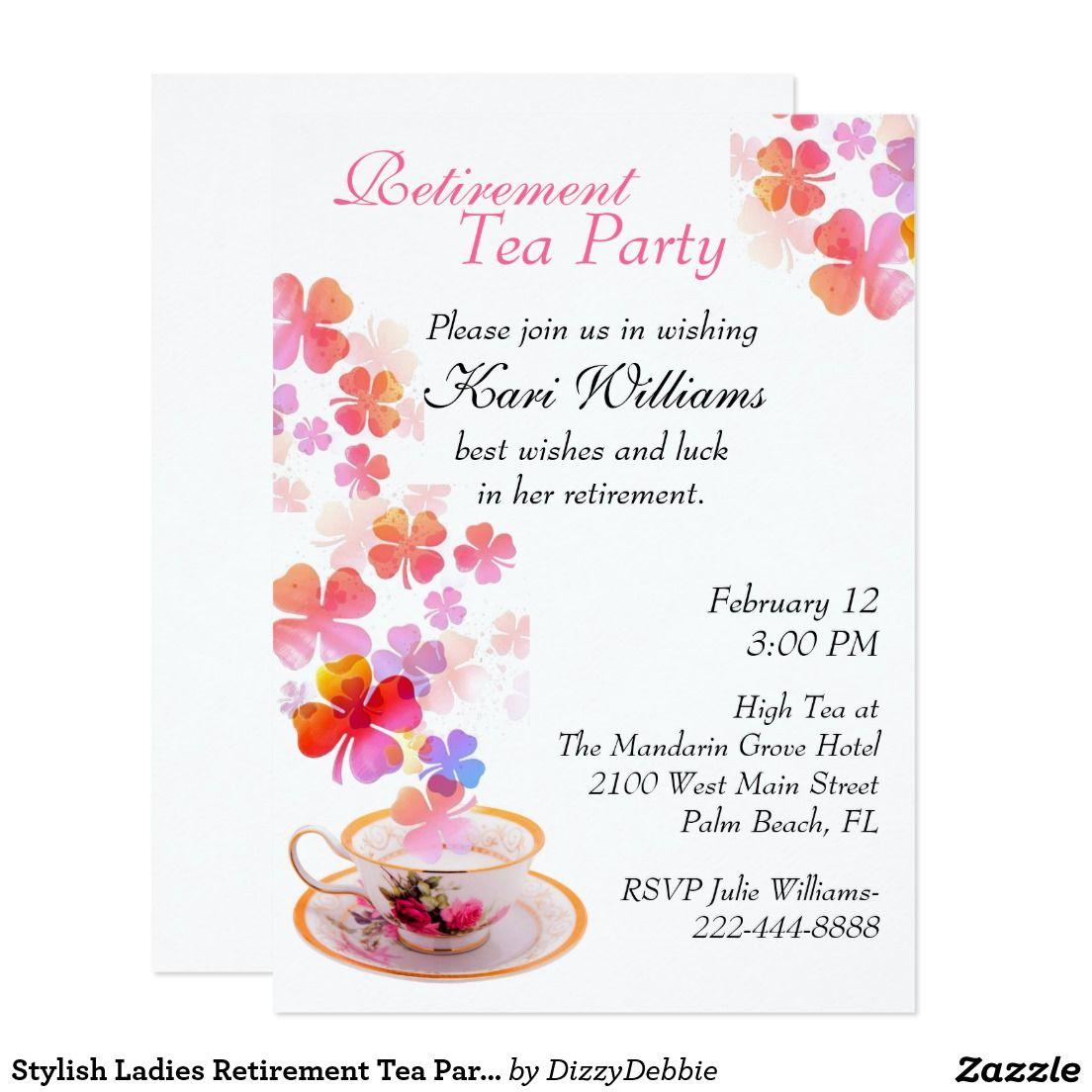 Stylish ladies retirement tea party invitation tea party stylish ladies retirement tea party invitation monicamarmolfo Image collections