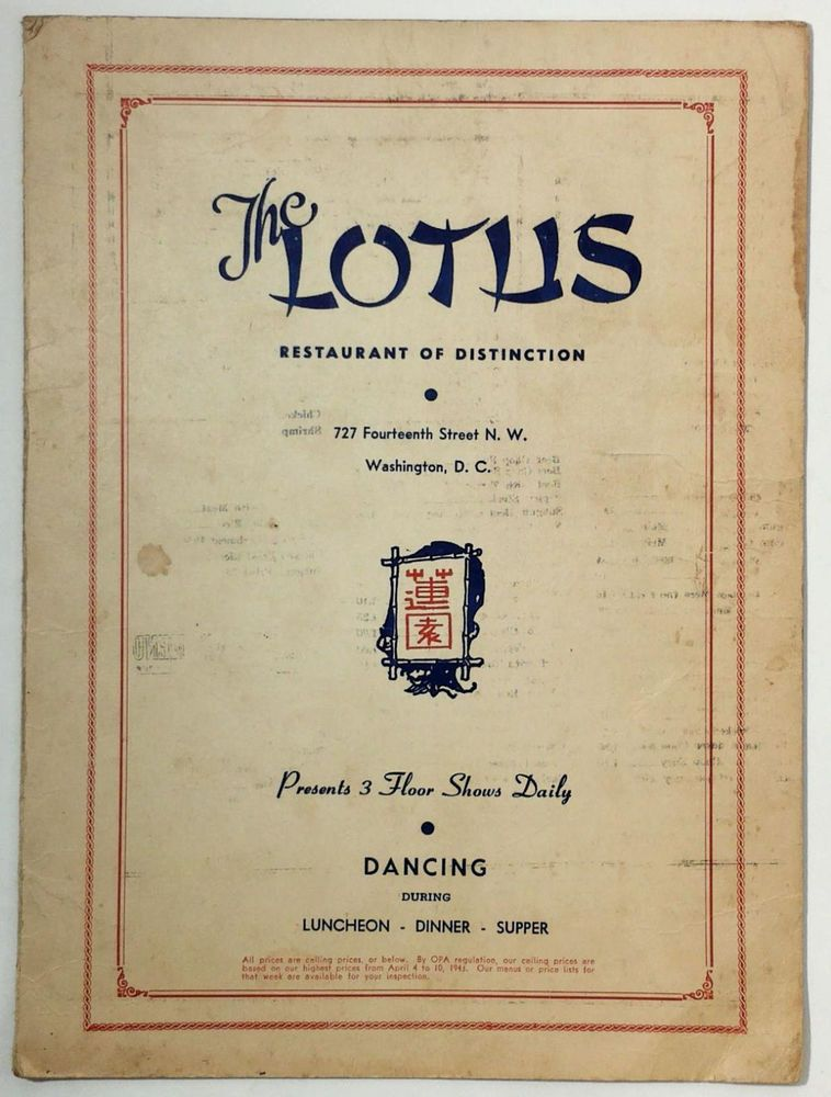 1945 Original Vintage Menu The Lotus Restaurant Washington Dc Daily