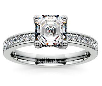 Asscher Pave Diamond Engagement Ring in Palladium  http://www.brilliance.com/engagement-rings/pave-diamond-ring-palladium-1/4-ctw