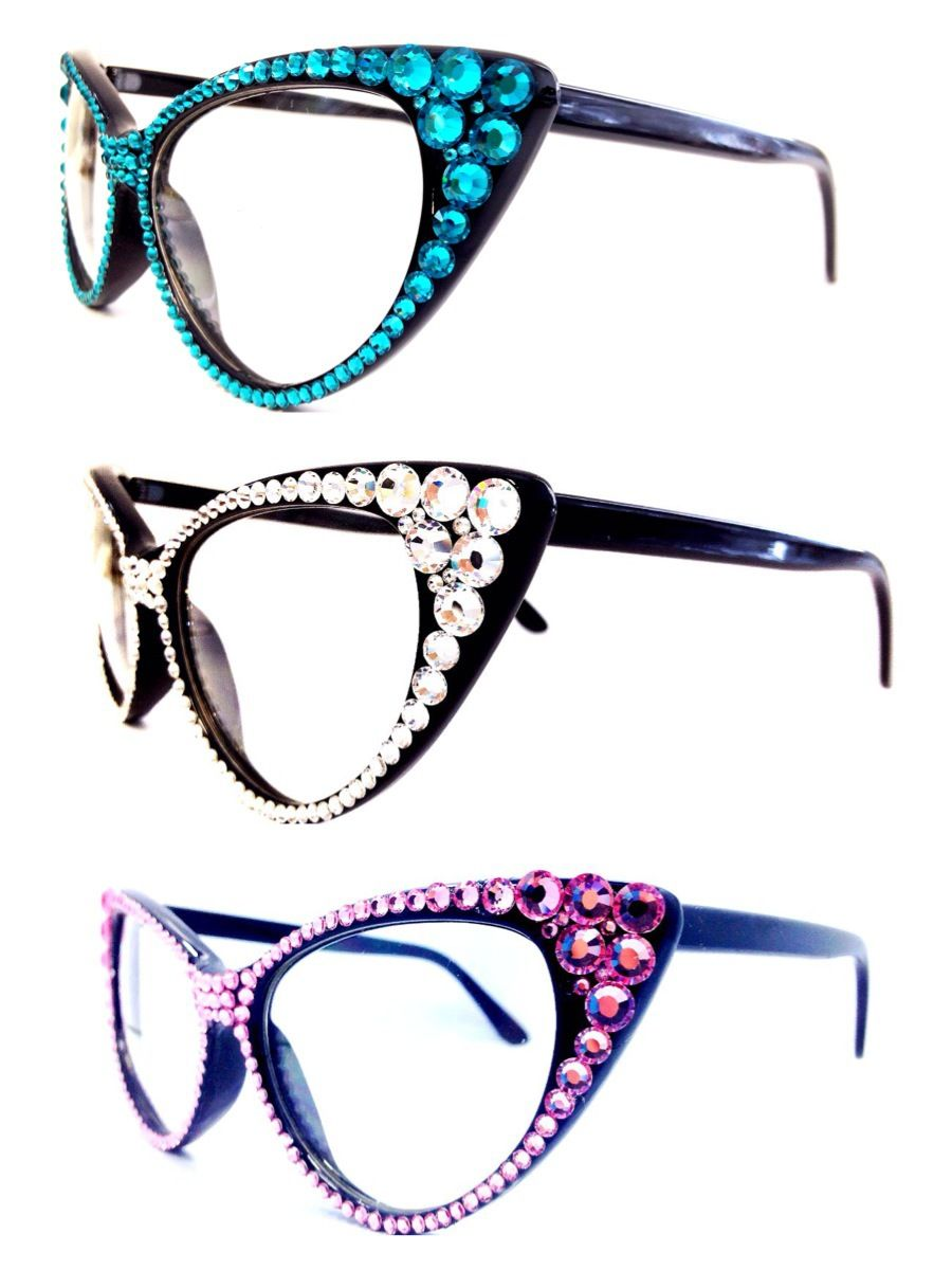 88692d0fc963 Vintage Paris France Rhinestone Hollywood Glam Cat Eye Eyeglasses ...