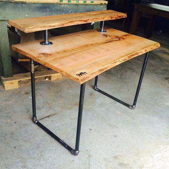 Reclaimss Red Oak Live Edge Slab Desk, Red Oak Desk