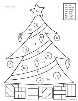 Christmas Tree Color by Number Worksheets - Pre-K, K, 1st ...