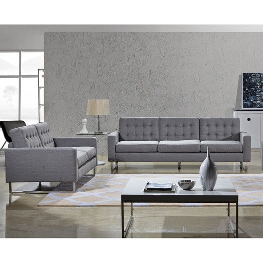 Container Angela Sofa And Loveseat Set Upholstery: Gray