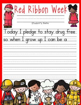 Red Ribbon Week Just Say No Activities Pledge Cards Bookmarks
