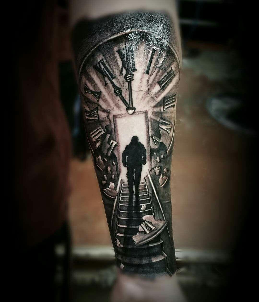 Clock stairs black grey tattoo