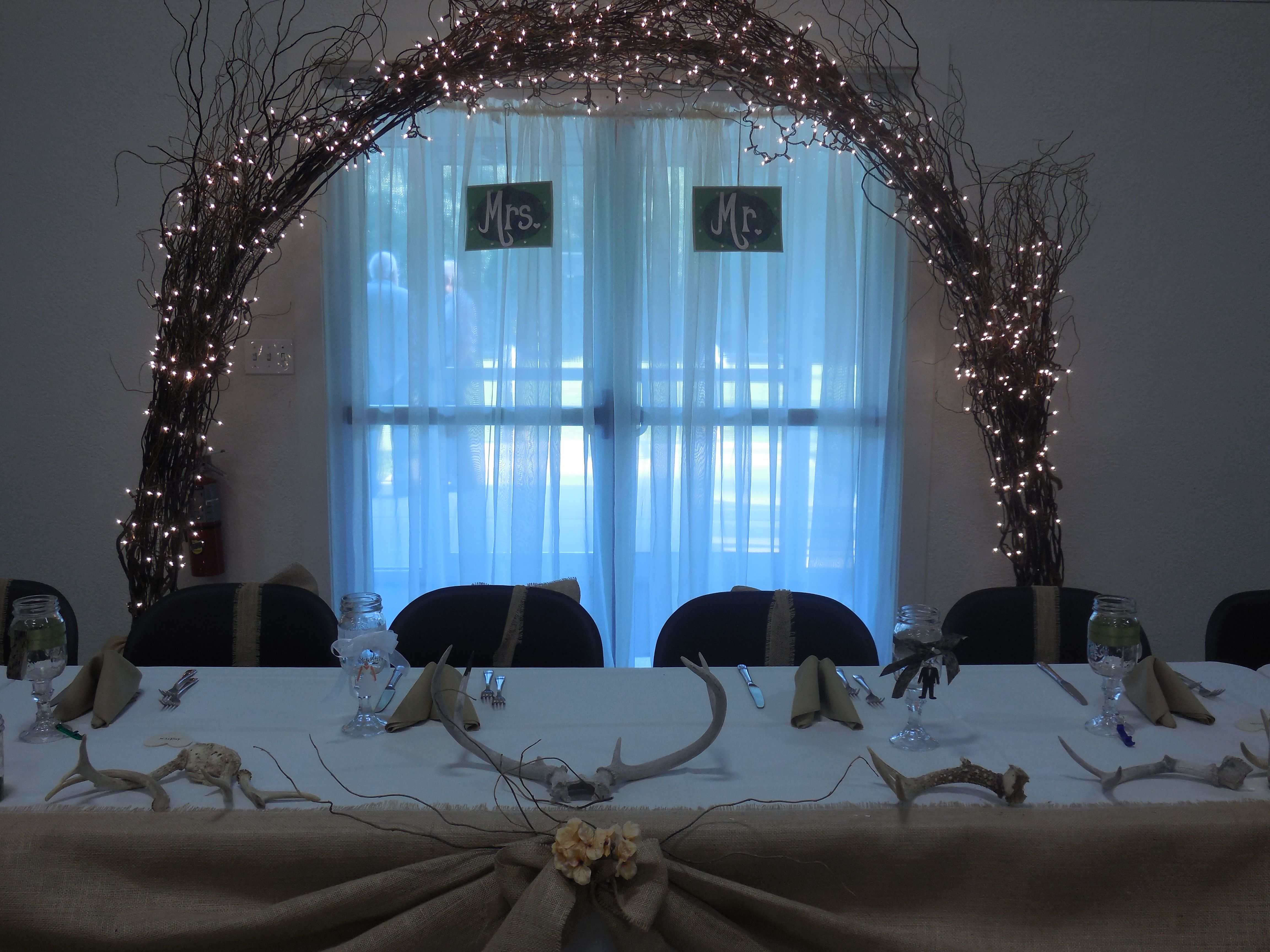 Lacoste Ling Wedding Wedding Projects 6 Head Table: Rustic Wedding Head Table With Antlers, Burlap Swag With