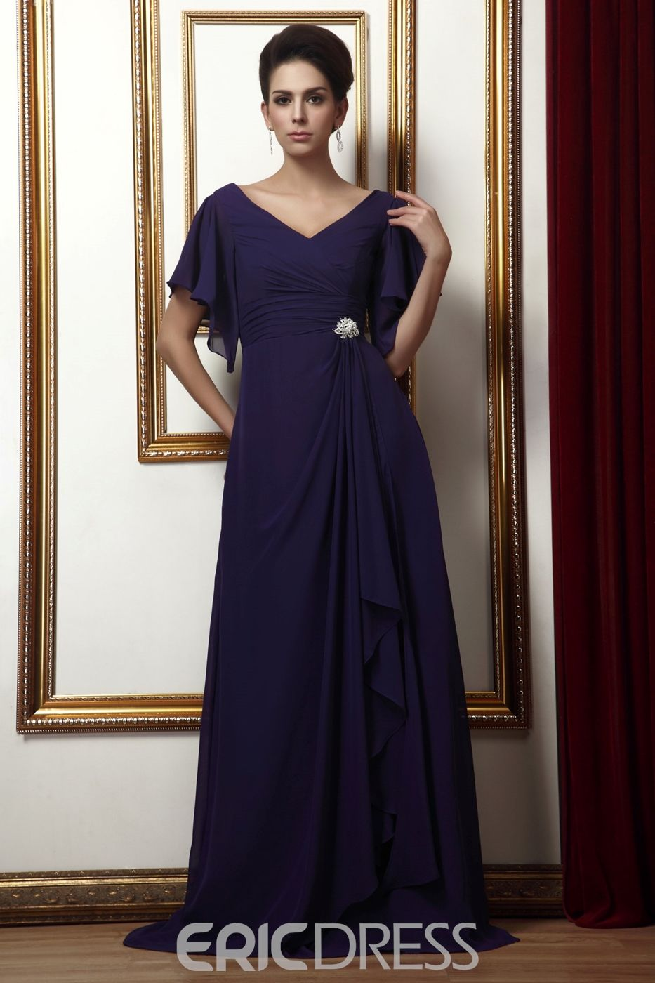 Fabulous long aline shortsleeves vneck mother of the bride dress