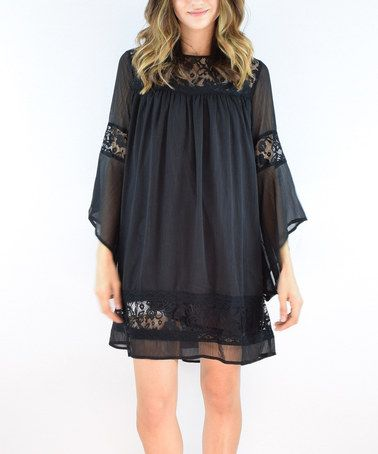 Another great find on #zulily! Black Sheer Lace-Trim Shift Dress #zulilyfinds
