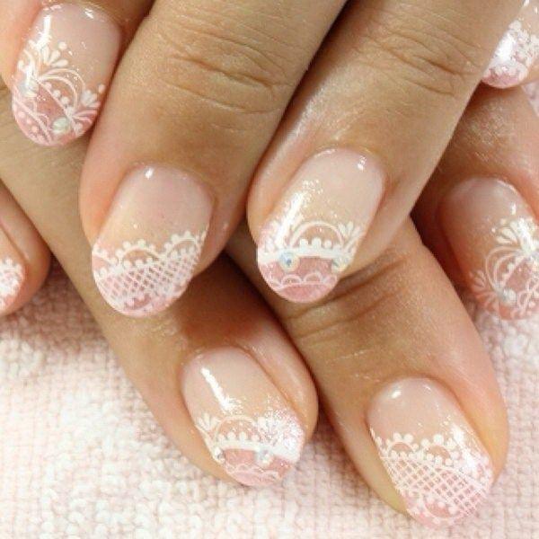 feminine lace nails.