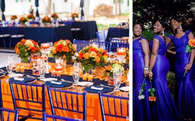 Wedding Color Palette Navy Blue And Orange Navy Wedding Flowers