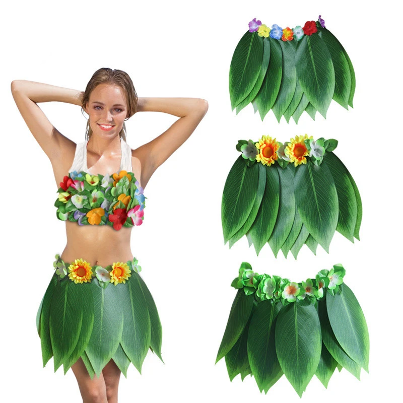 Hawaiian Artificial Tropical Leaves & Flower Boho Skirt en